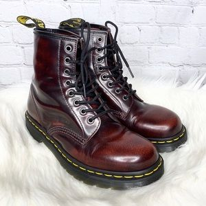 Dr Martens Cherry Red Smooth Leather Combat Boots